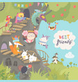 cute treehouse with little girl and animals vector image vector image