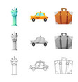 design of airport and airplane symbol vector image vector image