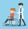 doctor with wheelchair patient vector image