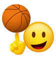 emoticon spinning a basketball on his finger vector image