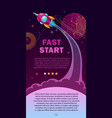 fast start concept space banner with vector image