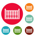 fence with column icons circle set vector image vector image
