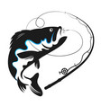 fish swallows bait vector image vector image
