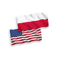 flags of poland and america on a white background vector image vector image