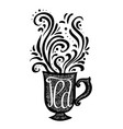 hand drawn with a lettering and a cup vector image vector image