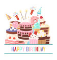 happy birthday sweets festive banner vector image vector image