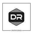 initial letter dr logo template design vector image