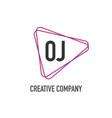 initial letter oj otriangle design logo concept vector image vector image