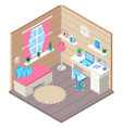interior of home office in isometr vector image vector image