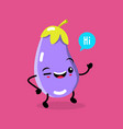 kawaii food cartoon eggplant happy funny vector image vector image
