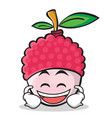 laughing face lychee cartoon character style vector image vector image