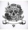 Monochrome Skull diamond and Flowers Card vector image vector image