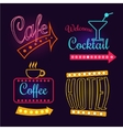 Neon Signs of Cafe Hotel and Cocktail Isolated vector image vector image