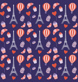 paris seamless pattern with eiffel tower vector image vector image