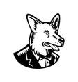 pembroke welsh corgi wearing tuxedo woodcut vector image vector image