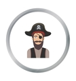 Pirate with eye patch icon in cartoon style vector image vector image