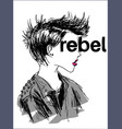 rebel concept t-shirt print and embroidery vector image