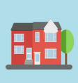 red duplex house with grey roof and tree over blue vector image vector image