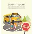 School bus stop Back To School Safety Concept vector image vector image