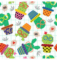 seamless pattern with cute cactus in glasses vector image vector image