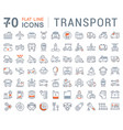 set flat line icons transport vector image vector image