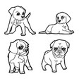 set of cartoon cute dog coloring page vector image