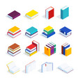 set of isometric books isolated vector image
