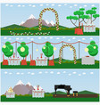 set of outdoors wedding scenery posters in vector image vector image