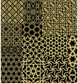 Set Twelve Gold Seamless patterns in Moroccan vector image vector image