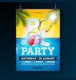 summer pool party poster design template with palm vector image vector image