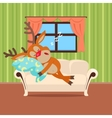Sweet Sleeping at Home Cartoon Concept vector image