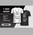 t-shirt template fully editable with rock gesture vector image vector image