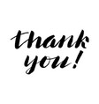 thank you hand lettering written brush pen vector image