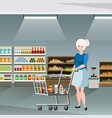 woman on supermarket vector image vector image