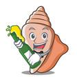 with beer cute shell character cartoon vector image