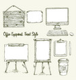 set of hand drawn office equipment in eco style vector image