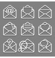 Mail envelope web icons set on dark background vector image