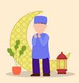 a muslim praying muslims who pray during ramadan vector image vector image