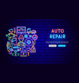 auto repair neon banner design