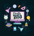 back to school computer book test tube pencil book vector image vector image
