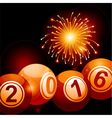 Bingo lottery balls 2016 and fireworks vector image vector image