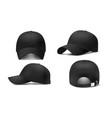 black cap mockup realistic 3d vector image