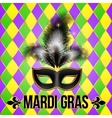 black mardi gras mask with feathers on grid vector image vector image