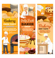 bread and desserts bakery shop food baker in hat vector image vector image