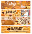 bread bakery products and desserts banners vector image vector image