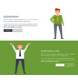 businessman and successful man set of posters vector image vector image