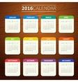 Calendar template 2016 vector image