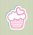 Card with a cream cake with pink and green bubles vector image vector image