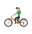character of happy man on bicycle isolated vector image