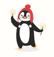 christmas penguin character cartoon cute vector image vector image